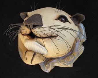 Handmade Ceramic Otter, Original Wall Art, Wall Mounted Otter Mask, Garden Decor, Cute Animal Art, Nature Lover Gift, Ocean Magic, Sculpture