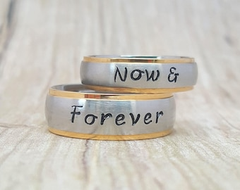 Set of 2 Couples Wedding Rings, Wedding Band, Promise Rings, Matching Name Rings, Custom Rings, Personalized Couples Jewelry, Flat Front