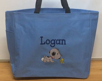 Personalized Baby Snoopy Tote Diaper Bag Boy or Girl