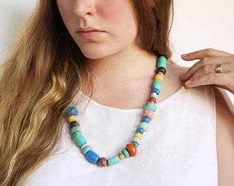 30% OFF SALE Colorful Moroccan Clay Bead Necklace