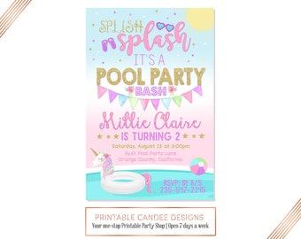 Unicorn Pool Party Invitation, Unicorn Birthday Invitation, Pool Party Birthday Invitation, Unicorn Birthday, Pool Party, No Photo Printable