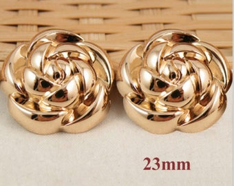 Pink PETAL fashion Camellia 23mm sewing SCRAPBOOKING set 3 MAXI flower child METAL gold buttons