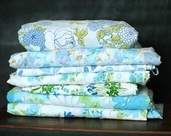 Vintage Sheet Fat Quarter Bundle - Aqua/Light Blue Floral Mix - Set of 7