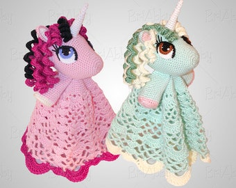 Crochet Unicorn or Pony Security Blanket Lovey Pattern (PDF FILE)