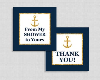 Nautical Favor Tags, Thank You and From My Shower To Yours Shower Party Favor Tags, Navy & Gold Glitter, INSTANT PRINTABLE