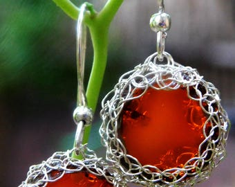 Woven earrings in crystal orange and sterling silver