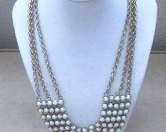 Vintage Jewelry Necklace White Milk Glas Bib Necklace 5 Row Wedding Prom Special Occassion