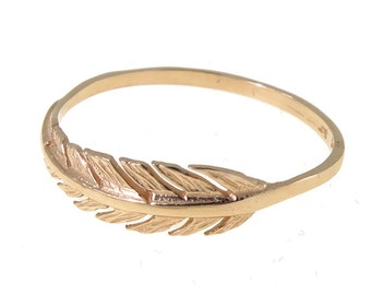 Gold Feather Ring | Feather Gold Ring | 14K Gold Ring | Dainty Ring | Dainty Gold Ring | Statement Ring | Promise Ring | Solid Gold Ring