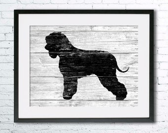 Irish Water Spaniel  art illustration print, Irish Water Spaniel  painting ,dog illustration, Wall art, Rustic Wood art, Animal silhouette
