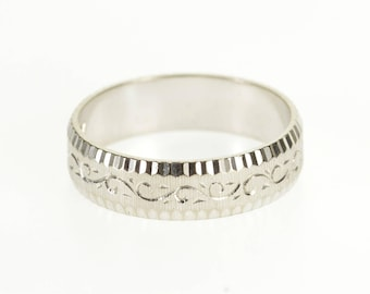 18k Scroll Ridged Patterned Grooved Textured Band Ring Gold