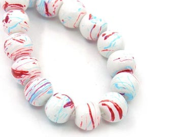 10 pearls 10mm round Multicolor set M02417 glass
