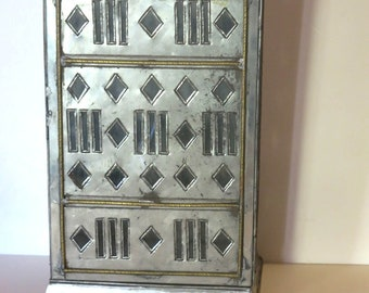 Vintage Punched Tin and Glass Nicho w/ Gold Accents Shadow Box - Mexico Folk Art