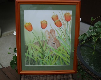 Rabbit Hiding in Tulips #3 Print from Original