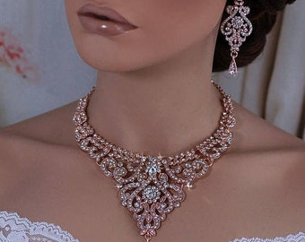 ROSE GOLD or Silver Bridal Wedding Necklace Earrings Set Bride Accessories Weddings Party Prom Pageant Back Drop Jewelry Crystal Accessory