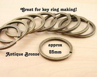 Sampler - Pick your qty - Large Split Rings for Key Ring, Key Chains.Round, Heavy Duty, 25mm Silver, Bronze, Gun Metal, DkCopper, Platinum