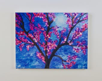 Cherry Blossom Tree on a stormy morning, giclee on canvas