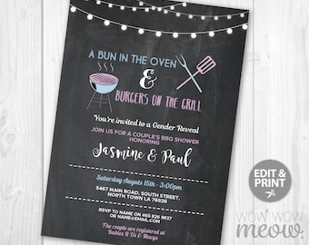 BABYQ Baby Shower Invitation INSTANT DOWNLOAD Bbq Couples Invite Bun in the Oven Burgers on the Grill Chalk Party Personalize Edit Printable