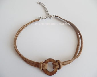 Brown Suede Leather Choker, Brown Choker, Suede Choker, Suede Wrap Choker, Leather Choker,Women Choker