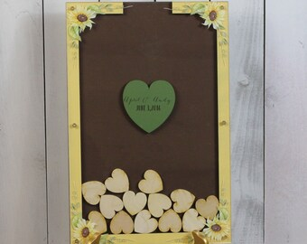 Wedding Guest Book/Top Drop/Alternative/Shadow Box/Drop Frame/Heart/Custom/Sunflower/Fall/Autumn/Top Drop frame/Rustic/Fast Shipping