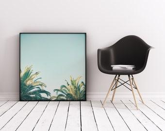 Palm Tree Wall Art, Tropical Art Print, Retro Wall Art - Summer Time