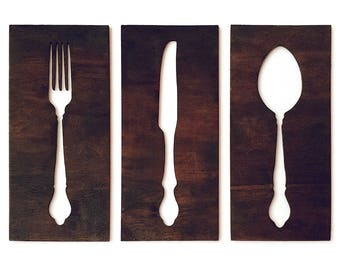 Fork, Knife, and Spoon Wall Decor for Kitchen, Wooden Silverware Silhouette Cutout Signs