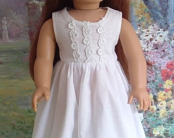 White Cotton Summer Dress and Hat for American Girl Doll