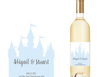 Wedding Wine Bottle Labels with Cinderella Castle