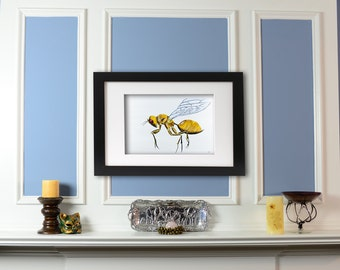 Golden Wasp Insect Art Giclee Print