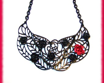 Art Deco Style Rose Embellished Statement Necklace