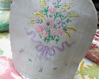 Handmade Tea Cozy, Linen, Hand Embroidery, Personal Teapot