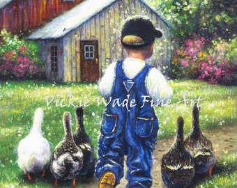 Farm Boy Art Print, boys room wall art, country boy, farm boy, nursery boy wall decor, childrens art, boy and ducks, Vickie Wade art