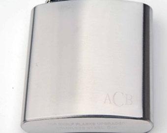 monogramed, stainless steel flask, metal flask, hip flask, monogramed flask, personalized flask, custom engraved flask, pocket flask