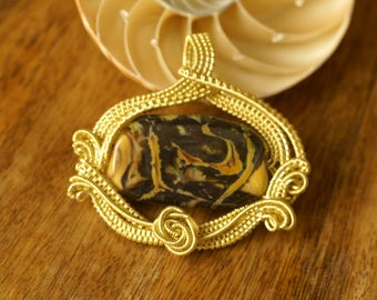 """Yellow, Brown, SRA Lampwork, wire wrapped Necklace - """"Golden Rose"""""""