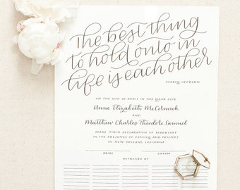 Custom marriage certificate / hand lettered Quaker wedding guest book, calligraphy / gift reception stationery // 11x14 11x17