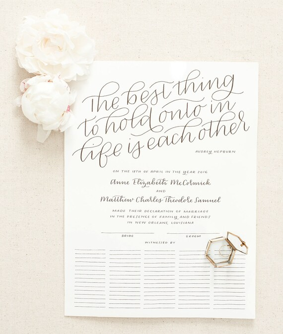 Custom Marriage Certificate  Hand Lettered Quaker Wedding