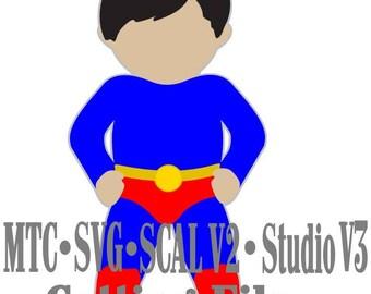 SVG Cut File Super Hero 06 Boy SCAL Silhouette Cricut Cutting Files MTC