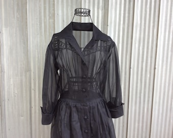 Vintage evening dress from the 50's - elegant black chiffon dress - Audrey Hepburn style