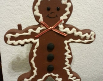 Wood Gingerbread Man Note Holder with Clothes Pin