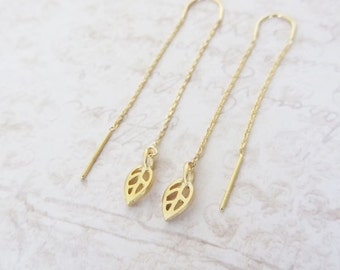 Gold leaf threader earrings, gold long chain earrings, Threader earrings, Long chain earrings/graduation gift