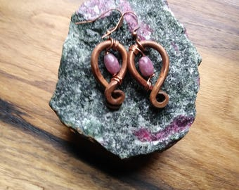 Pink Lepidiolite, Copper Earrings, Hypoallergenic