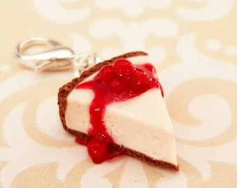 Cherry Cheesecake Charm - Miniature Food Jewelry -  Polymer Clay Food Charm
