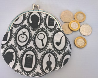 Sherlock Holmes Coin Purse, Sherlock Small Money Purse, Fabric Change Purse, Framed Coin Purse, Money Pouch, Headphone Pouch, Birthday Gift