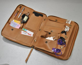 Leather laptop bag Leather travel organizer Tan Multi-Function Tablet bag Leather Organizer  Leather leather Ipad bag