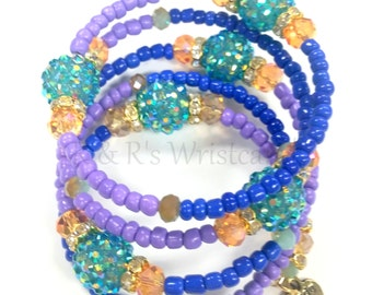 Memory Wire Bracelet, Purple Beaded Bracelet, Women's Bracelet, Women's Jewelry, Handmade, Custom, Beaded Jewelry, Coil Bracelet,