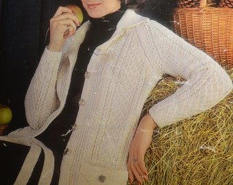 PDF vintage cable lady's jacket cardigan vintage knitting pattern pdf INSTANT download pattern only