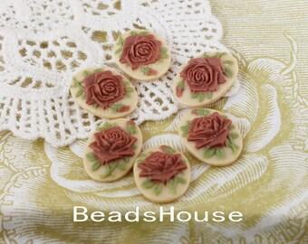 90s-00-CM 6pcs (13 x 18mm) Beautiful Roses Cameo - Chocolate