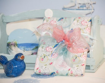 Gift Wrap 6 foot rolls of Shabby Chic Bluebirds and Watercolor Roses on Gray paper