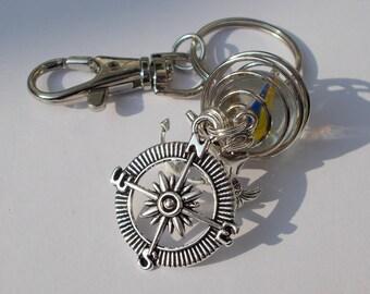 Beach keyring - mermaid - compass - anchor - marble  - gifts - coastal gifts