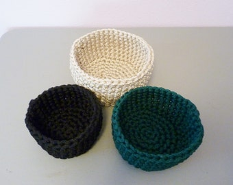 Nested Baskets - Set of 3 baskets crocheted with sturdy Bonnie Craft Cord