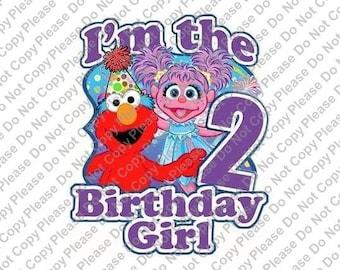 Sesame Street Elmo & Abby Cadabby 2nd Birthday I'm the Birthday Girl Iron On Transfer Instant Download Matching Tshirts Clipart Birthday
